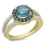2.33 Carat (ctw) 10K Yellow Gold Round Blue & White Diamond Ladies Bridal Split Shank Halo Style Engagement Ring