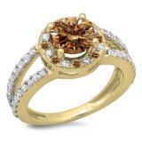 2.33 Carat (ctw) 18K Yellow Gold Round Champagne & White Diamond Ladies Bridal Split Shank Halo Style Engagement Ring