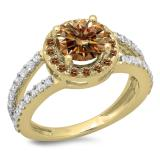 2.33 Carat (ctw) 14K Yellow Gold Round Champagne & White Diamond Ladies Bridal Split Shank Halo Style Engagement Ring