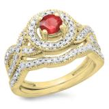 1.00 Carat (ctw) 10K Yellow Gold Round Cut Ruby & White Diamond Ladies Swirl Bridal Halo Engagement Ring With Matching Band Set 1 CT