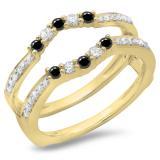 0.50 Carat (ctw) 10K Yellow Gold Round Cut Black & White Diamond Ladies Anniversary Wedding Band 5 Stone Enhancer Guard Double Ring 1/2 CT