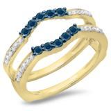 0.50 Carat (ctw) 18K Yellow Gold Round Cut Blue & White Diamond Ladies Anniversary Wedding Band 5 Stone Enhancer Guard Double Ring 1/2 CT