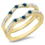 0.50 Carat (ctw) 10K Yellow Gold Round Cut Blue & White Diamond Ladies Anniversary Wedding Band 5 Stone Enhancer Guard Double Ring 1/2 CT