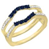 0.50 Carat (ctw) 18K Yellow Gold Round Cut Blue Sapphire & White Diamond Ladies Anniversary Wedding Band 5 Stone Enhancer Guard Double Ring 1/2 CT