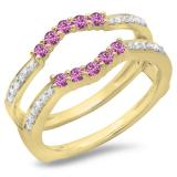 0.50 Carat (ctw) 18K Yellow Gold Round Cut Pink Sapphire & White Diamond Ladies Anniversary Wedding Band 5 Stone Enhancer Guard Double Ring 1/2 CT