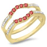 0.50 Carat (ctw) 18K Yellow Gold Round Cut Ruby & White Diamond Ladies Anniversary Wedding Band 5 Stone Enhancer Guard Double Ring 1/2 CT