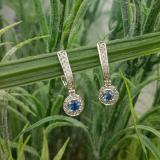 0.50 Carat (ctw) 10k White Gold Round Blue Sapphire & White Diamond Ladies Fine Dangling Drop Earrings 1/2 CT
