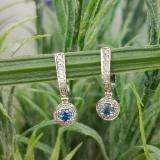 0.50 Carat (ctw) 18k White Gold Round Blue Sapphire & White Diamond Ladies Fine Dangling Drop Earrings 1/2 CT