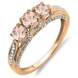 1.00 Carat (ctw) 14K Rose Gold Round Morganite & White Diamond Ladies Vintage Bridal 3 Stone Engagement Ring 1 CT