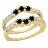 0.80 Carat (ctw) 10K Yellow Gold Round Cut Black & White Diamond Ladies Anniversary Wedding Band 3 Stone Enhancer Guard Double Ring 3/4 CT