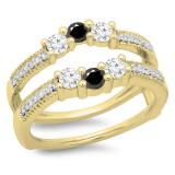 0.80 Carat (ctw) 18K Yellow Gold Round Cut Black & White Diamond Ladies Anniversary Wedding Band 3 Stone Enhancer Guard Double Ring 3/4 CT