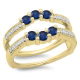 0.80 Carat (ctw) 18K Yellow Gold Round Cut Blue Sapphire & White Diamond Ladies Anniversary Wedding Band 3 Stone Enhancer Guard Double Ring 3/4 CT