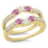 0.80 Carat (ctw) 14K Yellow Gold Round Cut Pink Sapphire & White Diamond Ladies Anniversary Wedding Band 3 Stone Enhancer Guard Double Ring 3/4 CT