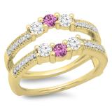 0.80 Carat (ctw) 18K Yellow Gold Round Cut Pink Sapphire & White Diamond Ladies Anniversary Wedding Band 3 Stone Enhancer Guard Double Ring 3/4 CT