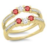 0.80 Carat (ctw) 14K Yellow Gold Round Cut Ruby & White Diamond Ladies Anniversary Wedding Band 3 Stone Enhancer Guard Double Ring 3/4 CT
