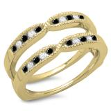 0.35 Carat (ctw) 18K Yellow Gold Round Cut Black & White Diamond Ladies Millgrain Anniversary Wedding Band Guard Double Ring 1/3 CT