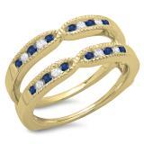 0.35 Carat (ctw) 14K Yellow Gold Round Cut Blue Sapphire & White Diamond Ladies Millgrain Anniversary Wedding Band Guard Double Ring 1/3 CT
