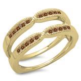 0.35 Carat (ctw) 10K Yellow Gold Round Cut Champagne Diamond Ladies Millgrain Anniversary Wedding Band Guard Double Ring 1/3 CT