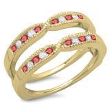 0.35 Carat (ctw) 14K Yellow Gold Round Cut Ruby & White Diamond Ladies Millgrain Anniversary Wedding Band Guard Double Ring 1/3 CT