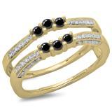 0.50 Carat (ctw) 18K Yellow Gold Round Cut Black & White Diamond Ladies Anniversary Wedding Band Enhancer Guard Double Ring 1/2 CT
