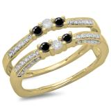 0.50 Carat (ctw) 14K Yellow Gold Round Cut Black & White Diamond Ladies Anniversary Wedding Band Enhancer Guard Double Ring 1/2 CT