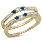 0.50 Carat (ctw) 10K Yellow Gold Round Cut Blue & White Diamond Ladies Anniversary Wedding Band Enhancer Guard Double Ring 1/2 CT