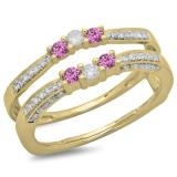 0.50 Carat (ctw) 14K Yellow Gold Round Cut Pink Sapphire & White Diamond Ladies Anniversary Wedding Band Enhancer Guard Double Ring 1/2 CT