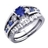 1.75 Carat (ctw) 14K White Gold Princess & Round White Diamond And Blue Sapphire Ladies Bridal Engagement Ring Set 1 3/4 CT