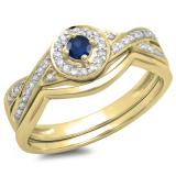 0.30 Carat (ctw) 10K Yellow Gold Round Blue Sapphire & White Diamond Ladies Bridal Halo Split Shank Engagement Ring Set 1/3 CT