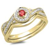 0.30 Carat (ctw) 14K Yellow Gold Round Ruby & White Diamond Ladies Bridal Halo Split Shank Engagement Ring Set 1/3 CT