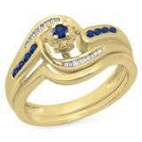 0.30 Carat (ctw) 18K Yellow Gold Round & Baguette Cut Blue Sapphire & White Diamond Ladies Bypass Twisted Style Bridal Engagement Ring With Matching Band Set 1/3 CT