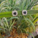 0.75 Carat (ctw) 10K White Gold Round Cut Blue Sapphire & White Diamond Ladies Halo Stud Earrings 3/4 CT