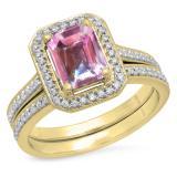 2.33 Carat (ctw) 10K Yellow Gold Emerald Cut Pink & Round White Cubic Zirconia CZ Ladies Halo Style Bridal Engagement Ring Set
