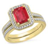 3.20 Carat (ctw) 10K Yellow Gold Emerald Cut Red & Round White Cubic Zirconia CZ Ladies Halo Style Bridal Engagement Ring Set