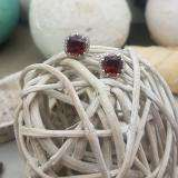2.40 Carat (ctw) 10K White Gold Cushion Cut Garnet & Round Cut White Diamond Ladies Halo Style Stud Earrings