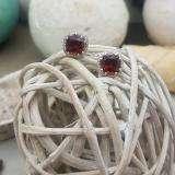 2.40 Carat (ctw) 14K White Gold Cushion Cut Garnet & Round Cut White Diamond Ladies Halo Style Stud Earrings