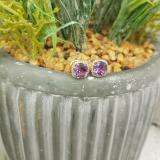 2.40 Carat (ctw) 18K Rose Gold Cushion Cut Amethyst & Round Cut White Diamond Ladies Halo Style Stud Earrings