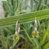 1.05 Carat (ctw) 18K White Gold Cushion Cut Peridot & Round Cut White Diamond Ladies Dangling Drop Earrings 1 CT