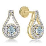 1.10 Carat (ctw) 18K Yellow Gold Round Cut Aquamarine & White Diamond Ladies Halo Style Drop Earrings 1 CT