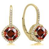 2.20 Carat (ctw) 14K Yellow Gold Cushion Cut Garnet & Round Cut White Diamond Ladies Halo Style Dangling Drop Earrings