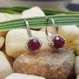 2.20 Carat (ctw) 18K White Gold Cushion Cut Ruby & Round Cut White Diamond Ladies Halo Style Dangling Drop Earrings