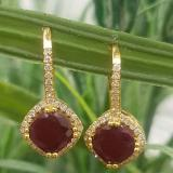 2.20 Carat (ctw) 18K Yellow Gold Cushion Cut Ruby & Round Cut White Diamond Ladies Halo Style Dangling Drop Earrings