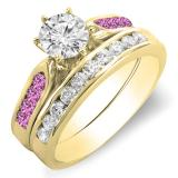 1.00 Carat (ctw) 10K Yellow Gold Round Pink Sapphire & White Diamond Ladies Bridal Engagement Ring Set With Matching Band 1 CT