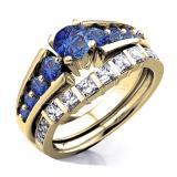 1.50 Carat (ctw) 18K Yellow Gold Princess & Round White Diamond And Blue Sapphire Ladies Bridal Ring Set Engagement Set