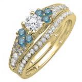 1.00 Carat (ctw) 10K Yellow Gold Round Blue And White Diamond Ladies Bridal Engagement Ring Matching Band Set