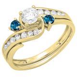 0.90 Carat (ctw) 10K Yellow Gold Round Blue And White Diamond Ladies Swirl Bridal Engagement Ring Matching Band Set