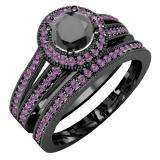 1.25 Carat (ctw) Black Rhodium Plated 14K White Gold Round Amethyst And Black Diamond Ladies Split Shank Halo Style Bridal Engagement Ring Set With Matching Band 1 1/4 CT