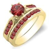 1.00 Carat (ctw) 14K Yellow Gold Round Ruby Ladies Bridal Engagement Ring Set With Band 1 CT