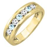 18K Yellow Gold Round Aquamarine & White Diamond Men's Fashion Wedding Band