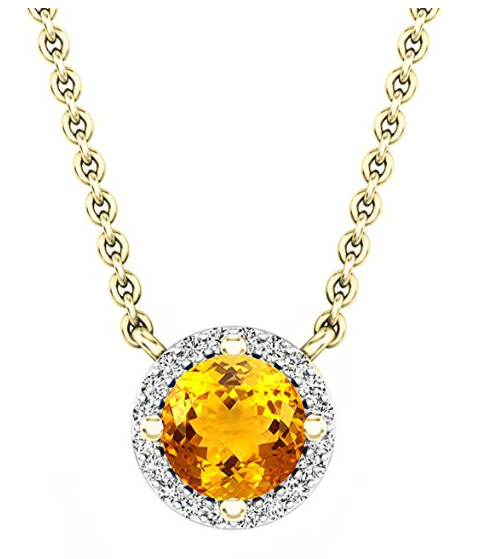 Dazzlingrock Collection 18K Round 5 MM Citrine & Diamond Ladies Pendant (Gold Chain Included), Yellow Gold